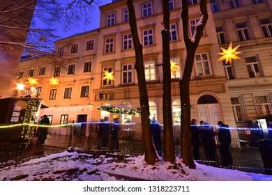Vienna, Austria - December, 2018: Popular Christkindlmarkt Christmas fair at Spittelberg with its narrow streets between historic baroque and Gründerzeit houses of the old town in Advent.