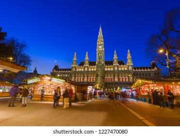 VIENNA, AUSTRIA - DECEMBER 29, 2016: Christmas Market near City Hall on December 29, 2016 in Vienna Austria.