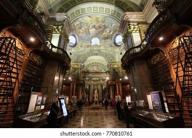 VIENNA, AUSTRIA - DECEMBER 2nd, 2017 : Austrian National Library interior