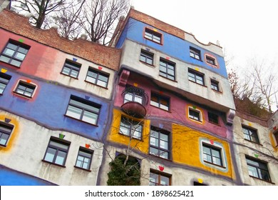 VIENNA, AUSTRIA - DECEMBER 30, 2007: Hundertwasser house or Hundertwasserhaus. It is apartment house, idea and concept belongs to Austrian artist Friedensreich Hundertwasser