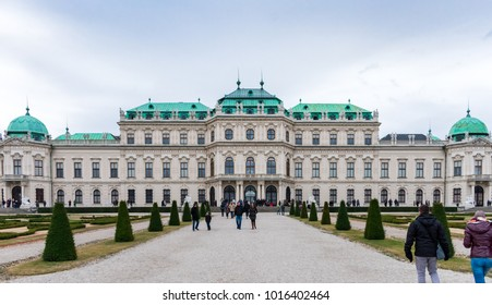 Vienna, Austria - December 30, 2017: Upper Belvedere, one of the most important baroque buildings in Austria, houses art from the Middle Ages and the largest Klimt collection
