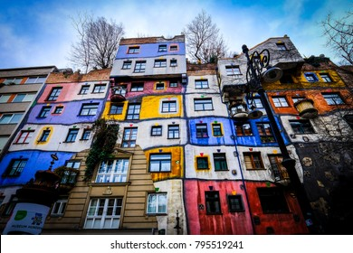 VIENNA, AUSTRIA - December 30, 2017: Hundertwasser House is one of the most Vienna's architectural highlights, art and vintage shopping zone combine with a bar, restaurant and numerous souvenir stores