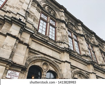 VIENNA, AUSTRIA - DECEMBER, 30, 2018: Close up view on Vienna State Opera House in Vienna, Austria
