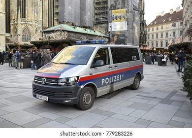 VIENNA, AUSTRIA - DECEMBER 8, 2017 - Police car at the christmas market in Vienna city center (Stephansplatz)