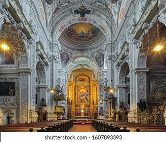 VIENNA, AUSTRIA - DECEMBER 9, 2016: Interior of Dominican Church. Also known as the Church of St. Maria Rotunda, it was built in 1631-1634 in early Baroque style.