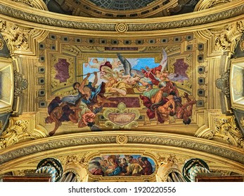 VIENNA, AUSTRIA - DECEMBER 9, 2016: Fragment of large ceiling fresco of Jesuit Church. The church was built in 1623-1627 and remodeled in 1703-1705. The fresco was executed by Andrea Pozzo in 1703.