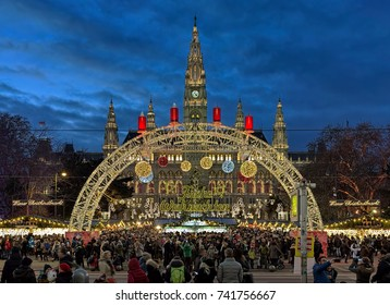 VIENNA, AUSTRIA - DECEMBER 9, 2016: Viennese Christmas Market in front of the City Hall. This is the largest and the best-known of all the Vienna Christmas markets.