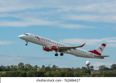 Vienna, Austria, Europe / 5. october 2017 : The airplane Austrian airlines company is take off from runway Schwechat airport