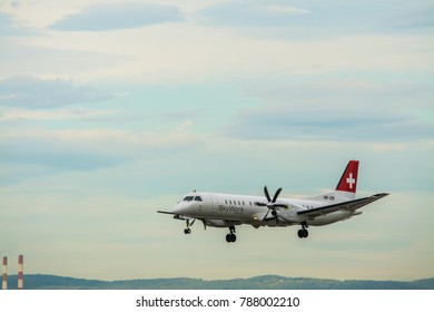 Vienna, Austria, Europe / 5. october 2017 : airplane swiss airlines is landing on Schwechat airport in morning