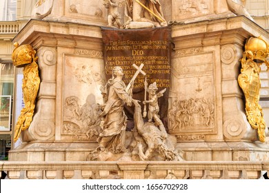 Vienna, Austria. Faith conquers the epidemic. The first part of the prayer. Plague Column (Pestsaule). Baroque Trinity column dedicated to the epidemic of bubonic plague in 1679. Installed in 1693