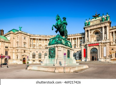 Vienna, Austria. Famous Hofburg Palace with Heldenplatz in Wien, austrian capital city.