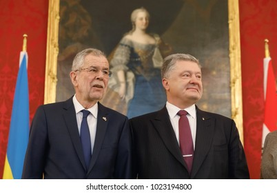 VIENNA, AUSTRIA - Feb 08: Austrian President Alexander Van der Bellen during a meeting with Ukrainian President Petro Poroshenko in Vienna, Austria