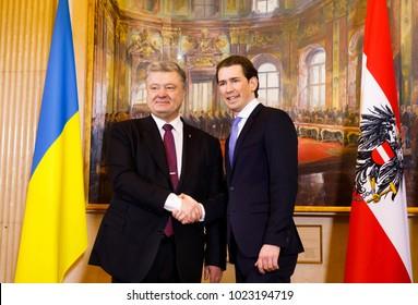 VIENNA, AUSTRIA - Feb 08: Federal Chancellor of the Republic of Austria Sebastian Kurz during a meeting with Ukrainian President Petro Poroshenko in Vienna, Austria
