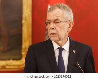 VIENNA, AUSTRIA - Feb 08: Portrait of the Austrian President Alexander Van der Bellen during a joint press conference with Ukrainian President Petro Poroshenko in Vienna, Austria