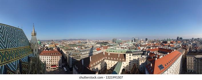 VIENNA, AUSTRIA - FEB 15, 2019: panoramic view to skyline of Vienna, Austria.