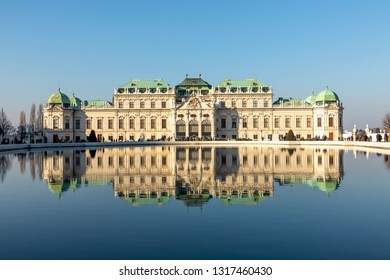 VIENNA, AUSTRIA - FEB 17, 2019: Baroque palace Belvedere is a historic building complex in Vienna, Austria, consisting of two Baroque palaces with a beautiful garden between them.