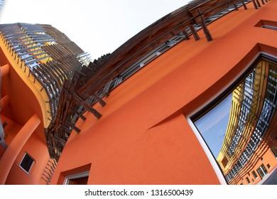 Vienna, Austria - FEB 18, 2019: WU (Wirtschaftsuniversität Wien ) University of Economics and Business campus building in Leopoldstadt district of Vienna Austria Europe.