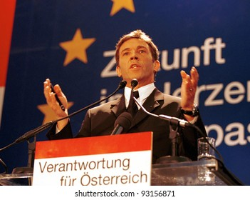 VIENNA, AUSTRIA - FEB 3: Austrian far-right politician Joerg Haider speaks in Vienna, Austria, on Thursday, February 3, 2000. Haider's past admiration for Adolf Hitler drew international criticism. Haider died in 2008.
