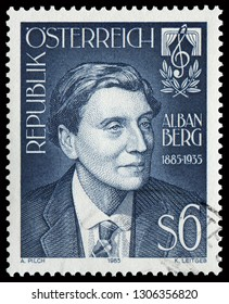 Vienna, Austria - Feb. 8, 1985: portrait of Alban Maria Johannes Berg (1885-1935), famous Austrian composer. Stamp issued by Austrian Post in 1985.
