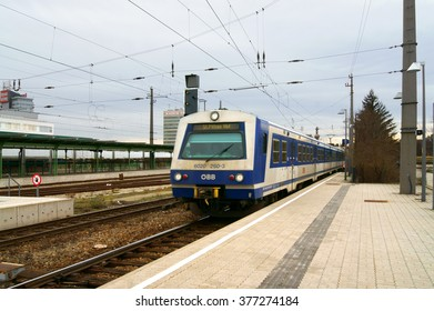 VIENNA, AUSTRIA - FEBR 3, 2016:Wien Heiligenstadt is railway station located in Dobling district. Opened in 1898, it is served by regional and S-Bahn trains. Train is arriving
