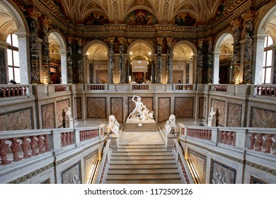 Vienna, Austria, February 10, 2015. Stairs and statue in the Kunsthistorisches Museum in Vienna