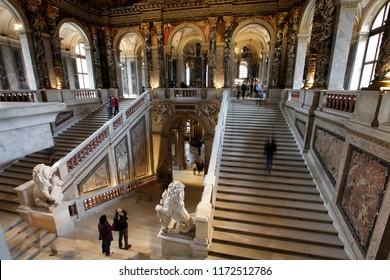 Vienna, Austria, February 10, 2015. Interior in the Kunsthistorisches Museum in Vienna