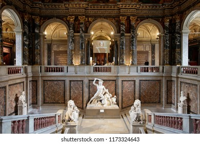 Vienna, Austria, February 10, 2015. Interior, stairs and statue in the Kunsthistorisches Museum in Vienna