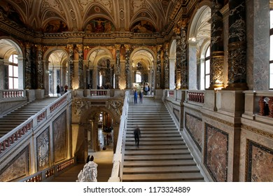 Vienna, Austria, February 10, 2015. Interior in the Kunsthistorisches Museum in Vienna