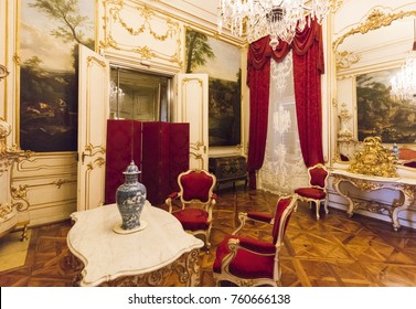 VIENNA, AUSTRIA - FEBRUARY 15, 2016: Interior of Schonbrunn Palace, a former imperial summer residence.The 1,441-room Baroque palace is one of the most important architectural monuments in the country
