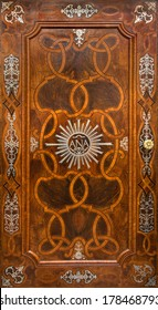 VIENNA, AUSTRIA - FEBRUARY 17, 2014: Baroque intarsia on the door to sacristy  of St. Anne's Church.