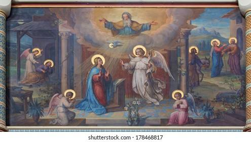 VIENNA, AUSTRIA - FEBRUARY 17, 2014: Annunciation scene. Fresco by Josef Kastner from 1906 - 1911 in Carmelites church in Dobling.