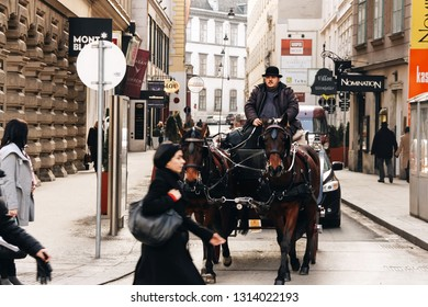 Vienna, Austria - February 18, 2012: Horse-drawn carriage tour on a street. Portrait of a Viennese coachman. coachman carriage horse