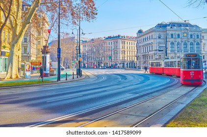VIENNA, AUSTRIA - FEBRUARY 18, 2019: The Ringstrasse is one of the main city road with popular tram lines and main buildings along it, on February 18 in Vienna.