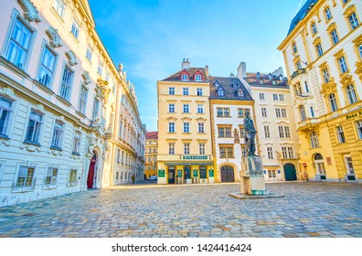 VIENNA, AUSTRIA - FEBRUARY 18, 2019: The  Judenplatz is a former main square on Jewish Quatrer, nowadays boasts beautiful mansions and sculpture of Lessing in the middle, on February 18 in Vienna.