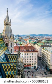 VIENNA, AUSTRIA, FEBRUARY 2, 2016: Aerial view of Vienna and Stephansplatz from top of the stephansdom cathedral.