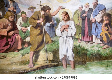 VIENNA, AUSTRIA - FEBRUARY 23, 2011: Baptism of Christ fresco from 20. cent. as detail from Baptistery of st. Franics church.
