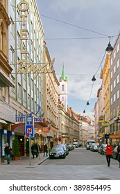 VIENNA, AUSTRIA - FEBRUARY 6, 2016:Hotel Royal is located at beginning of Graben and Karntner Strasse shopping streets in historic centre of Vienna