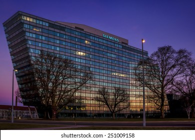 VIENNA, AUSTRIA - FEBRUARY 7, 2015: Main building of Siemens AG Austrian company headquarters in Vienna. Siemens City is a campus-like complex with space for 6000 employees.