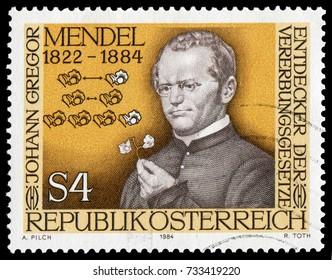 Vienna, Austria - Jan. 5, 1984: Gregor Johann Mendel (1822-1884) Genetics scientist, Augustinian friar and abbot. Stamp issued by Austria Post in 1984.