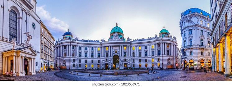 VIENNA, AUSTRIA - JANUARY 17, 2018. View of Hofburg (Neue Burg wing), the imperial palace of the Habsburg dynasty, from Michaelerplatz on January 17, 201 in vienna - austria