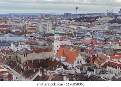 Vienna, Austria January 2, 2018. View from the observation platform St. Stephen's Cathedral Domkirche St. Stephan on the architecture of the city center, panoramic view from high.