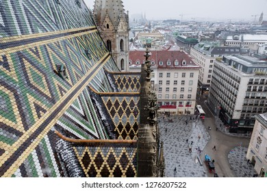 Vienna, Austria, January 2019: winter with a bit of snow on the roofs seen from the tower of the St Stephans cathedral (in German Stephansdom) in the center of Vienna