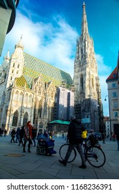 VIENNA, AUSTRIA January 21st: St. Stephan's Cathedral Stephansdom on a sunny day with clouds