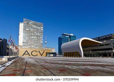Vienna, Austria � January 22, 2016: Skyscrapers at Vienna International Centre, Austria.