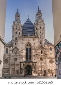Vienna, Austria, January 22, 2017: front view of St Stephan's gothic church facade (Stephansdom)  in Vienna, Europe seen from the street across