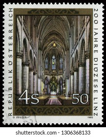 Vienna, Austria - January 25, 1985: Linz Cathedral interior scene. Stamp issued by Austrian Post for Linz Diocese in 1985.