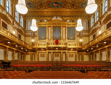 "Vienna, Austria - January 6 2017: The ""Golden Hall"" of Musical Association Vienna (Musikverein  Wien). Photo taken on the 147th anniversary of the building, which was inaugurated January 6, 1870."