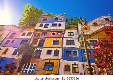 Vienna, Austria July 04 2018: Colorful Hundertwasserhaus architecture inVienna view, capital od Austria, It is famous house by Friedensreich Hundertwasser, fully interacted with nature.