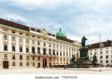 Vienna, Austria - July 09, 2017: Hofburg Palace court with Amalienburg, Sisi museum and monument statue of Emperor Francis I, In der burg, Vienna, Austria