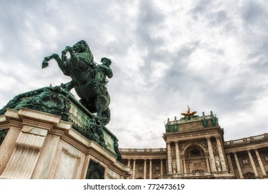 Vienna, Austria - July 09, 2017: Monument to prince Eugene at the Heldenplatz within the Hofburg palace . Prince Eugene of Savoy (1663 â?? 1736), field marshal and statesman of the Carignan line of th